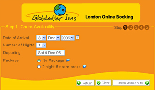 Globetrotter Inn, London Charts Web booking